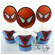12x Spiderman Cupcake Toppers + Wrappers. Party Supplies Lolly Loot Bags