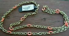 NWT J. CREW Orange And Gold Tone Chain Link Necklace Length 37''