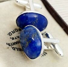 Vintage Style - Stunning Blue Lapis Lazuli Gemstone Oval Silver Plated Cufflinks