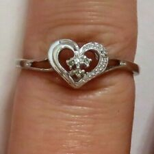 Sterling Silver .925 Diamond Heart-Shaped Ring/Promise Ring Sz 7.625 (1.4g)
