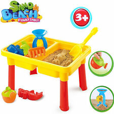 2 COMPARTMENT KIDS BEACH SAND WATER RECTANGULAR TABLE TOY ACCESSORIES PLAY SET