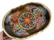 Vtg Vibrant Colorful Mexican Batea Folk Art Wood Trencher Bowl Tray Gold Rimmed