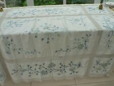 STYLISH  ELEGANT  6'X5' EMBROIDERED TABLECLOTH PRISTINE  BLUE & YELLOW FLOWERS