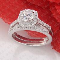 1.25 Ct Round Cut Diamond Halo Bridal Engagement Ring Set 14k White Gold Finish