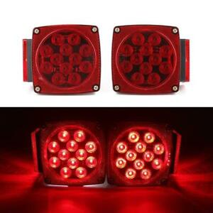 1pair LED Square Red Trailer Turn/Signal/Stop Light Set Submersible DOT Under 80