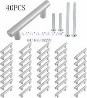 40PCS Stainless Steel Kitchen Cabinet Handles T Bar Pull Dresser Drawer Hardware