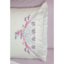 FAIRWAY NEEDLECRAFT Pillow Case Set of 2 for Stamped Embroidery FLOWERS 82699