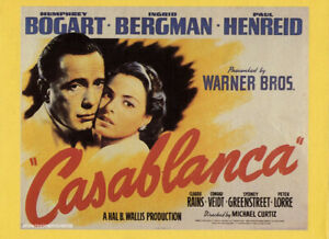 Casablanca double sided poster from 80's movie magazine