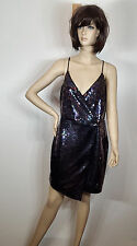 Adelyn Rae Sequin Wrap Slipdress, Purple, US Size Medium