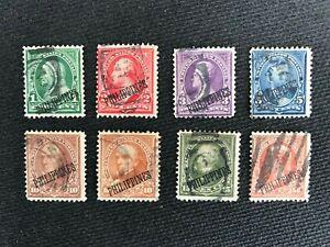 1899-1901 PHILIPPINES US ADM SCOTT 213-219 COMPLETE SET 8 NICE CANCELS F-VF USED