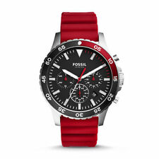 Fossil Men's Crewmaster Sport Chronograph Red Silicone Watch CH3056