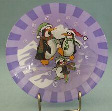 Arcoroc Penguins Bowl Decorative Holiday Glass Purple Skating France Dish