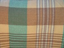 """Cuadros Vintage Con Flecos galés de Lana Manta/Cobertor-Marrón Melocotón Verde 89"""" X 72"""""""