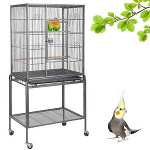 136cm Large Metal Bird Cage With Stand Parrot Budgie Canary Cockatiel Aviary UK