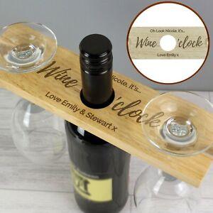 Personalised Wine O'clock Wooden Wine Glass & Bottle Butler Holder Friends Gift