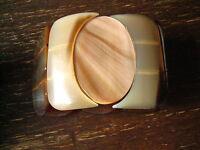 ausgefallener 6,5 cm breiter Vintage Armreif echtes Horn Ethno Stil Handarbeit