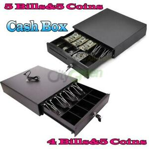 Cash Register Drawer Box 4/5 Bill 5 Coin Tray Compatible Works POS Printers RJ11