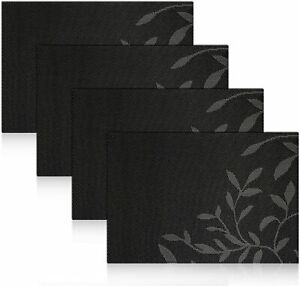 Placemats Washable PVC Dinner Table Mats Heat-resistand  Woven Set of 6 Black