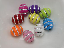 100 Mixed Color Sparkling Silver Stripes Acrylic Oval Ball Beads 10X12mm