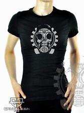 Cryoflesh Rivethead Cyber Industrial Gear Skull Mechanical Goth Shirt Fem S-XXL