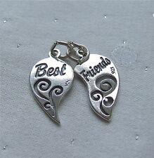 Mejores amigos Corazón 2 Piezas encanto plata esterlina 925 (2 En 1 encanto)