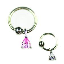 Ohr Intim Piercing Ring mit Tropfen Anhänger in 1,2mm & 1,6mm mit Kristall NEU!!