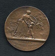 Bruxelles Art Deco 1923 / Protection Assurance / Bronze Medal Signed. M24