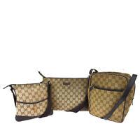 Authentic GUCCI GG Logo 3 Pile Set Shoulder Bag Canvas Leather Brown 63SB358