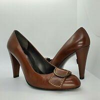 """Stuart Weitzman 7 M Brown Leather High Heels Pumps Shoes Buckle Up 3 1/2"""" Heel"""