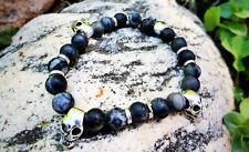 Black & Gray Agate Stone Beads w/ Tibetan Silver Skulls BRACELET