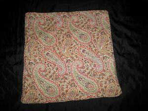 Ralph Lauren Paisley Pillow Cover Pair Red Green Brown Cotton Sateen Zip Close