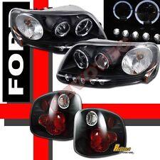 01 02 03 Ford F150 SVT Supercrew Black Halo Projector Headlights + Tail Lights