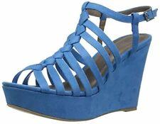 Michael Antonio Women's Racer Wedge Sandal, Blue, 8 M US