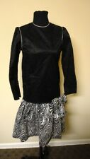 YVES SAINT LAURENT Black Silver Animal Print Acetate Vintage Dress Sz 12 GG9263