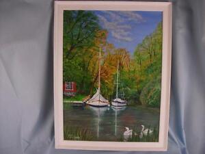 "Framed Original Acrylic painting on panel 12"" x 16"", 'Norfolk Broads' Phil Lynes"
