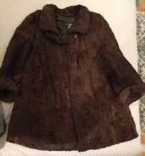 Brown Persian Lamb Karakul Fur Jacket Coat Short Panda Size Women's 10