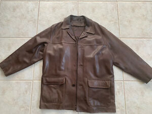 COACH 100% GRAIN BROWN LEATHER REMOVABLE WOOL LINING POCKETS MEN'S JACKET SIZE L