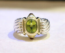 David Yurman Silver 14k Yellow Gold Oval Peridot Citrine Renaissance Ring Band