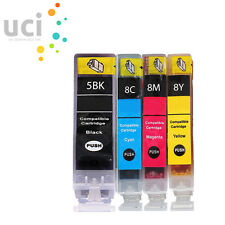 4 INK CARTRIDGES FOR CANON PIXMA iP5100 iP5200 iP5200R iP5300 iP7600 PGI5 CLI8