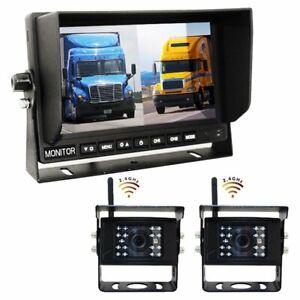 "Digital Wireless DVR Dash Cam System! 2 Camera Options with 9"" LCD Quad Screen"