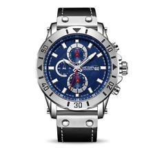 Mens Sports  Watch Quartz Luxury Movement Wristwatch Military Style Black Strap