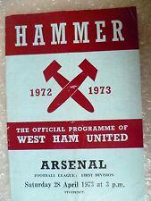 1973 WEST HAM UNITED v ARSENAL, 28th April (League Division One)