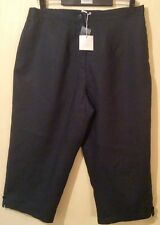 BNWT DEANE &WHITE Ladies Black LINEN Cropped Formal Lined Wide-Leg Trousers SZ 2