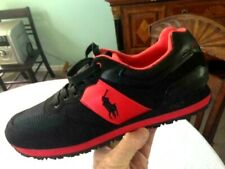 """AWESOME! RALPH LAUREN """" POLO SPORT P67 SLATON"""" PONY BLACK & RED SPORTS SNEAKERS!"""