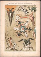 1905 Lithographie art nouveau boucs chevreaux anges journal de la décoration