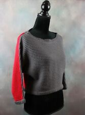 Poof Excellence Women's Crop Top Sweater Size M Red & Gray Knit 3/4 Sleeve