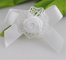 24pcs New Ribbon Flower Bows W/rose Appliques Wedding Decoration Craft RB023