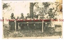 """1900s Men drinking """"Select"""" Beer and Feasting at a picnic table RPPC"""