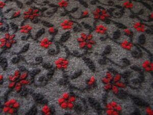 Musterwalk ital. Walkstoff  Blumen rot auf anthrazit Walk 80%Wolle/20%Baumwolle