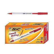 12 PCS BIC Round Stic 1.0mm Ballpoint Pen med / moy 1 BOX Red